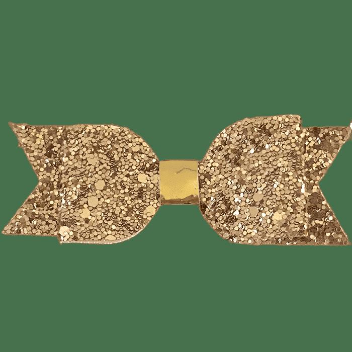 Rosé goud glitter strik haarspeldje handgemaakt 7 cm