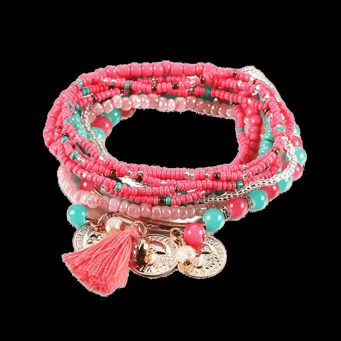 Bohemian Charm Wrap Armband Femme Groen Roze