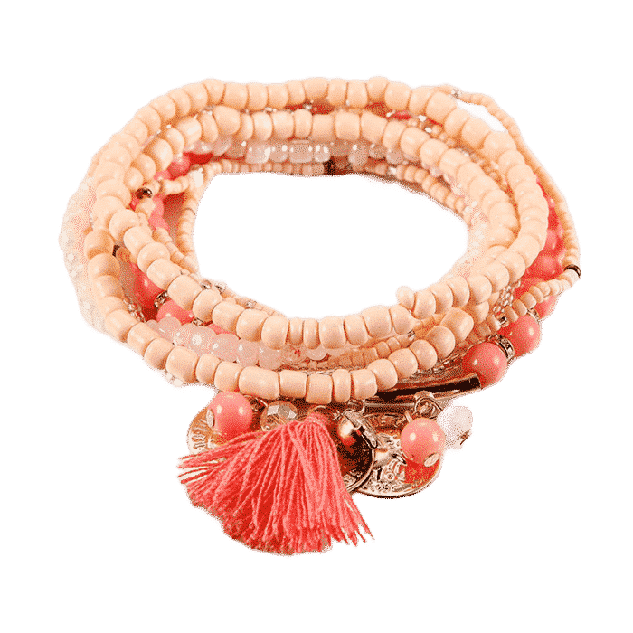 Bohemian Charm Wrap Armband Femme Roze