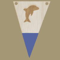 Dolfijnvlag met punt gegraveerd in kleur