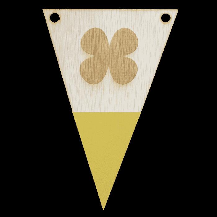 Klavertjevlag met punt in kleur gegraveerd