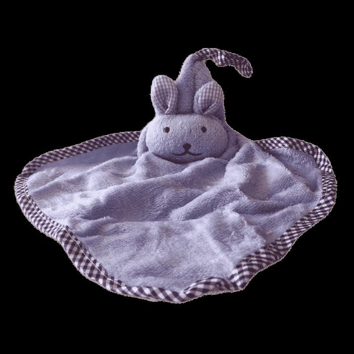 Knuffeldoek zacht konijn paars