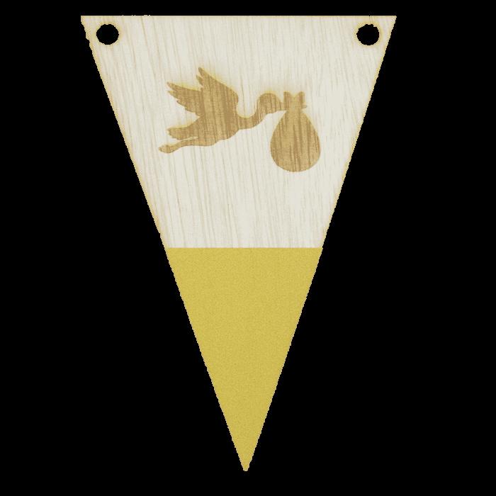 Ooievaarvlag met punt in kleur gegraveerd