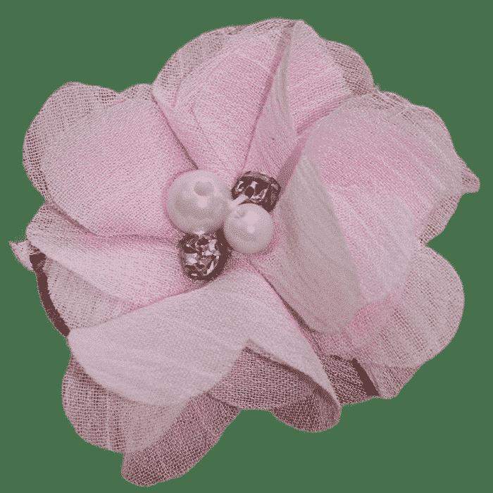 Parel roze bloem speldje handgemaakt 6 cm