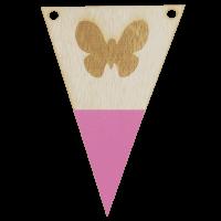 Vlindervlag met punt in kleur gegraveerd