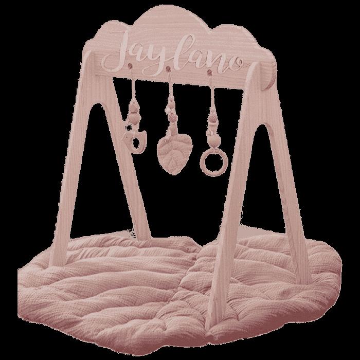 Houten baby gym met naam te personaliseren roze