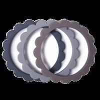 Mushie bloem bijtring armband 3-stuks Steel-Dove Gray-Stone