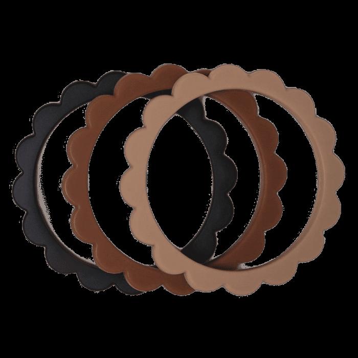 Mushie bloem bijtring armband Black-Natural-Caramel