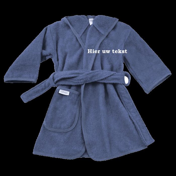 Badjas Uni Line Silk-Blue 1-2jr met naam