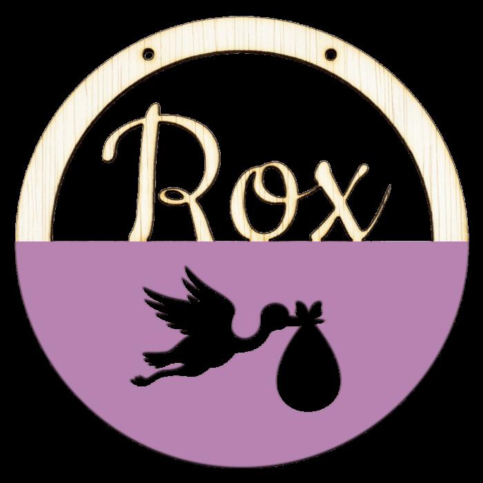 Houten ooievaar hoepel in kleur met naam