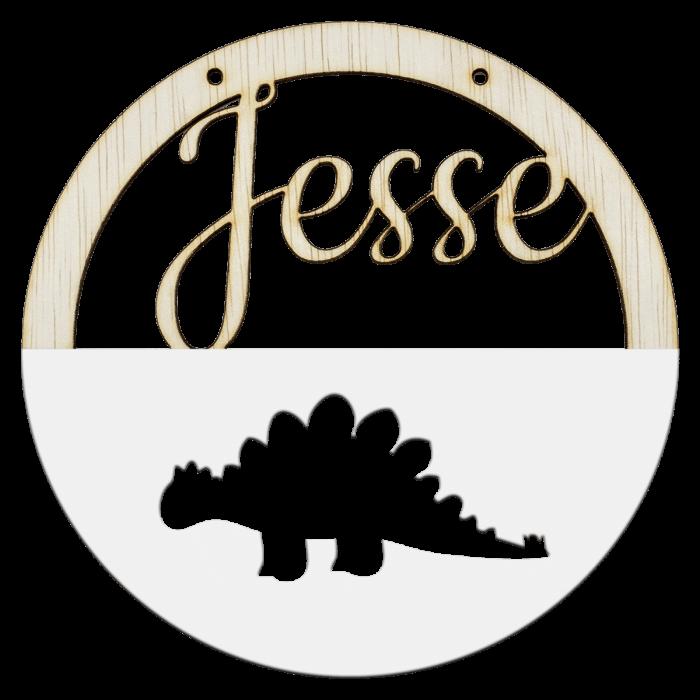 Houten stegosaurus hoepel in kleur met naam