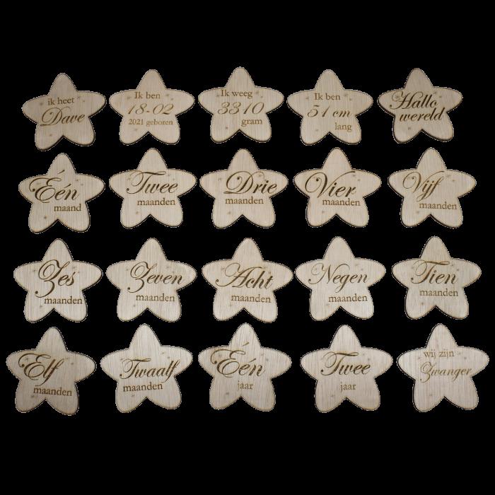 Houten mijlpaal schijven ster gratis zak