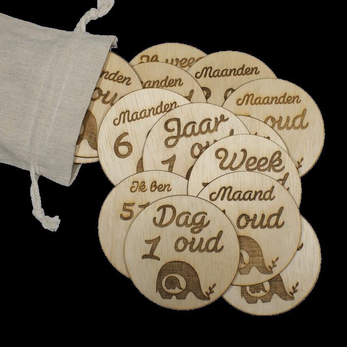 Newborn mijlpaal schijven met gratis zak