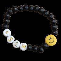 handgemaakte smiley armband zwart