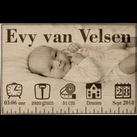 Houten geboortebord naambord met foto