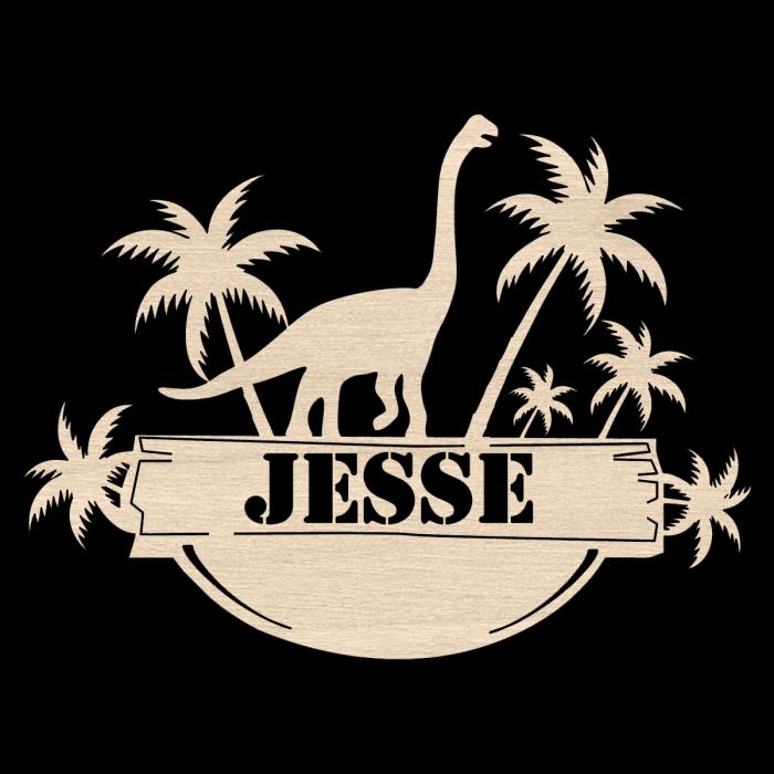 Naambordje met dinosaurus